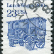 Postage stamp printed in the USA, shows Lunch Wagon of 1890s — Stock Photo