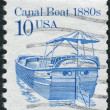 Postage stamp printed in the USA, shows a Canal Boat of 1880s — Stock Photo