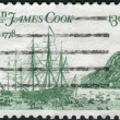 "Postage stamp printed in the USA, dedicated to the 200th anniversary of the landing of James Cook in Hawaii and Alaska, shows a ""Resolution"" and ""Discovery,"" by John Webber — Stock Photo"