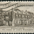 "Postage stamp printed in the USA, shows a President Buchanan's Home, ""Wheatland,"" Lancaster, PA — Stock Photo"