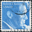 Stock Photo: Postage stamp printed in USA, shows portrait of politiciand senator, Robert Francis Kennedy