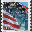 Postage stamps printed in USA, shows one of the symbols of America, Statue of Liberty — Stock Photo