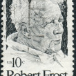 Postage stamp printed in the USA, shows a portrait of American poet Robert Frost — Stock Photo