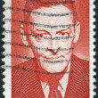 Postage stamp printed in the USA, shows a portrait of an American poet T. S. Eliot — Stock Photo