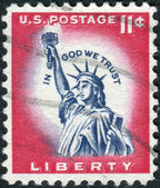 A postage stamp printed in USA, shows one of the symbols of America, Statue of Liberty — Stock Photo