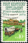 Postage stamp printed in the USA, Kentucky Settlement Issue, shows a Fort Harrod — Stock Photo