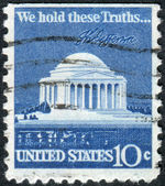 Postage stamp printed in the USA, shows the Thomas Jefferson Memorial is a presidential memorial in Washington, DC — Stock Photo
