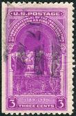 Selo impresso na edição de inauguração eua, washington, mostra george washington toma o juramento de posse — Foto Stock