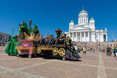 Festival of Latin dances. Decoration for a performance at the Senate square in front of Helsinki Cathedral — Stock Photo