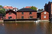 Riverside storage buildings in Old Porvoo. Finland — Stock Photo