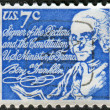 Postage stamp printed in the USA, a portrait of 6th President of Pennsylvania, the founder of the United States, Benjamin Franklin — Stock Photo