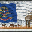 Stock Photo: Postage stamp printed in USA, shows flag of North Dakota