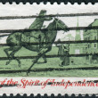Postage stamp printed in the USA, American Bicentennial Communications in Colonial Times, shows Postrider — Stock Photo