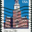 Postage stamp printed in the USA, dedicated to the 200th anniversary of the ratification of the Constitution of the United States, Pennsylvania, shows Independence Hall — Stock Photo