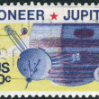 Stock Photo: Postage stamp printed in USA, U.S. unmanned accomplishments in space. Pioneer 10 passed within 81,000 miles of Jupiter