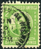 Postage stamp printed in the Philippines, shows a portrait of a Filipino nationalist, writer and revolutionary Jose Rizal — Stock Photo