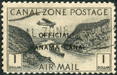 Postage stamp printed in Panama Canal Zone (overprint), shows artificial valley Culebra Cut — Stock Photo
