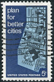 Postage stamp printed in the USA, is dedicated to the Conference of the American Institute of Planners, Washington, DC, shows View of Model City — Stock Photo