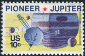 Postage stamp printed in the USA, U.S. unmanned accomplishments in space. Pioneer 10 passed within 81,000 miles of Jupiter — Stock Photo
