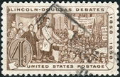 Postage stamp printed in the USA, shows Abraham Lincoln and Stephen A. Douglas Debating — Stock Photo