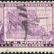 Stock Photo: Postage stamp printed in USA, dedicated to Centenary of Oregon Territory opening, shows Map of Oregon Territory