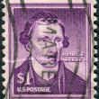 Stock Photo: Postage stamps printed in USA, shows Americattorney, planter and politician, Patrick Henry