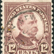 Postage stamps printed in USA, shows a portrait of 22nd and 24th President of the United States, Stephen Grover Cleveland — Stock Photo