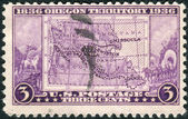 Postage stamp printed in the USA, dedicated to the Centenary of Oregon Territory opening, shows Map of Oregon Territory — Stock Photo