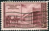 "Postage stamp printed in USA, dedicated to the Centenary of the entry of General Stephen Watts Kearny into Santa Fe, shows ""Capture of Santa Fe"" by Kenneth M. Chapman — 图库照片"