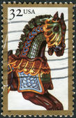Postage stamp printed in USA, American Folk Art Series, shows Carousel Horses — Stock Photo