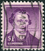 Postage stamps printed in USA, shows an American attorney, planter and politician, Patrick Henry — Stock Photo