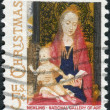 """Postage stamp printed in USA, Christmas Issue, shows a picture of the National Gallery of Art, """"Madonna and Child with Angels"""" by the Flemish artist Hans Memling, — Stock Photo"""
