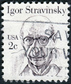Postage stamp printed in USA, shows a Russian, and later French and American composer, pianist and conductor, Igor Fyodorovich Stravinsky — Stock Photo