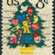 Postage stamp printed in USA, Christmas Issue, shows Christmas Tree in Needlepoint — Stock Photo