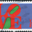 "Postage stamp printed in USA, shows the word ""Love,"" by Robert Indiana — Stock Photo #37860461"