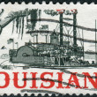 Postage stamp printed in USA, dedicated to LouisianStatehood Sesquicentennial, shows Riverboat on Mississippi — Stock Photo #37860527