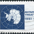 Stock Photo: Postage stamp printed in USA, dedicated to the 10th anniv. of the Antarctic Treaty pledging peaceful uses of and scientific cooperation in Antarctica, shows Map of Antarctica