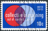 "Postage stamp printed in USA, Collective Bargaining Issue, shows ""Labor and Management"" — Stock Photo"