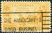 Postage stamp printed in USA, is dedicated to California Statehood Centenary, shows Gold Miner, Pioneers and S.S. Oregon — Stock Photo