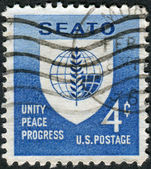 Postage stamp printed in USA, dedicated to South-East Asia Treaty Organization and the SEATO Conference, Washington, shows emblem of SEATO — Stock Photo