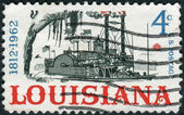 Postage stamp printed in USA, dedicated to the Louisiana Statehood Sesquicentennial, shows Riverboat on the Mississippi — Stock Photo