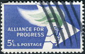 Postage stamp printed in USA, is dedicated to 2nd anniv. of the Alliance for Progress, which aims to stimulate economic growth & raise living standards in Latin America, shows Alliance Emblem — Stock Photo