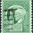 Postage stamp printed in USA, shows Liberty Holding Torch of Freedom & Enlightenment — Stock Photo #37919387