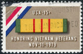 Postage stamp printed in USA, is dedicated to a tribute to veterans of the Viet Nam War, shows Ribbon for Viet Nam Service Medal — Stock Photo