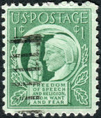 Postage stamp printed in USA, shows Liberty Holding Torch of Freedom & Enlightenment — Stock Photo
