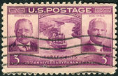 Postage stamp printed in USA, dedicated to the 25th anniversary of the Panama Canal opening, shows Theodore Roosevelt, Gen. George W. Goethals and Gaillard Cut — Stock Photo