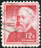 Postage stamps printed in USA, shows a portrait 23rd President of the United States, Benjamin Harrison — Stock Photo