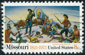 "Postage stamp printed in USA, Missouri Sesquicentennial Issue, shows a detail of ""Independence and the Opening of the West"", by Thomas Hart Benton — Stock Photo"
