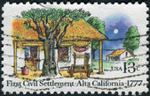 Postage stamp printed in USA, dedicated to the 200th anniversary 1st civil settlement in Alta California, El Pueblo de San Jose de Guadalupe, shows Farm Houses — Stock Photo
