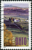 Postage stamp printed in USA, dedicated to Ohio Statehood Bicentennial, depicts Aerial View of Farm Near Marietta — Stock Photo